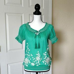 Twentyone boho embroidered blouse sz S
